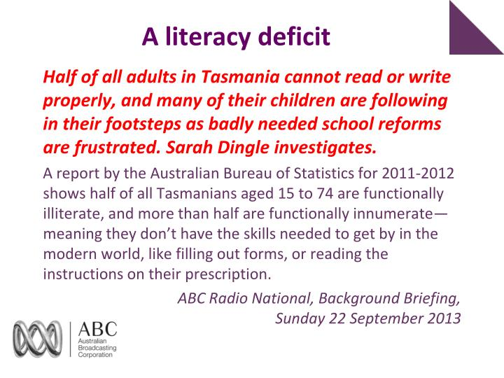 A literacy deficit