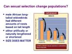 can sexual selection change populations