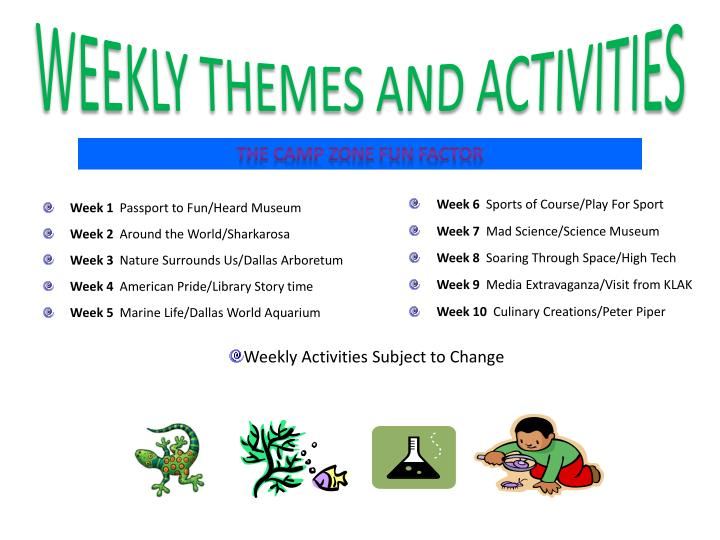 WEEKLY THEMES AND ACTIVITIES