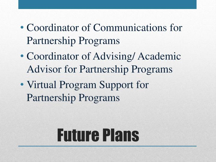 Coordinator of Communications for Partnership Programs