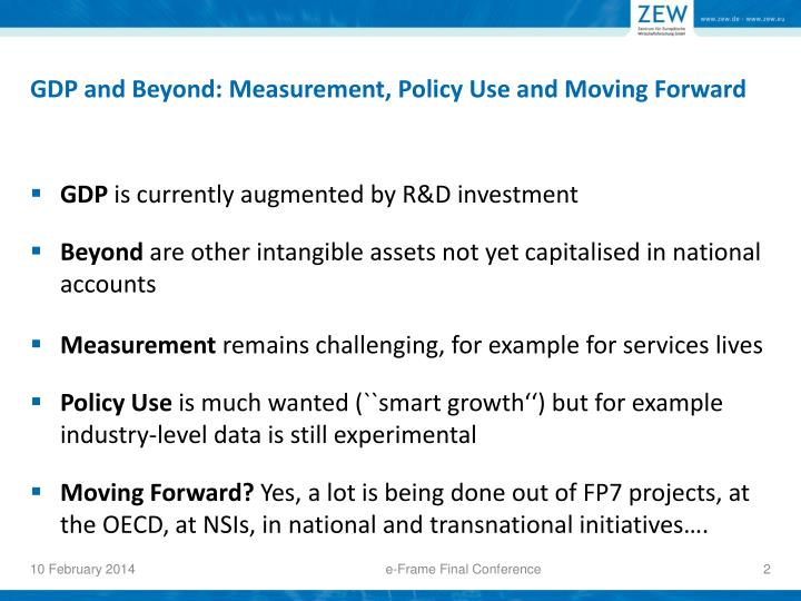 Gdp and b eyond measurement policy use and moving forward