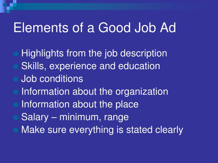 Elements of a Good Job Ad