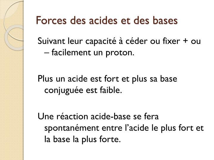 Forces des acides et des bases