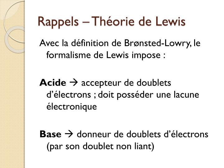 Rappels – Théorie de Lewis