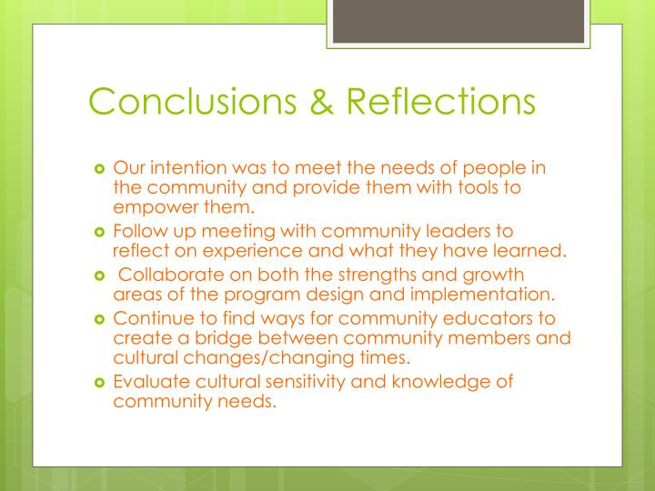 Conclusions & Reflections