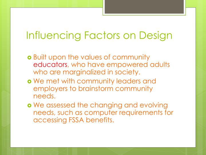 Influencing Factors on Design