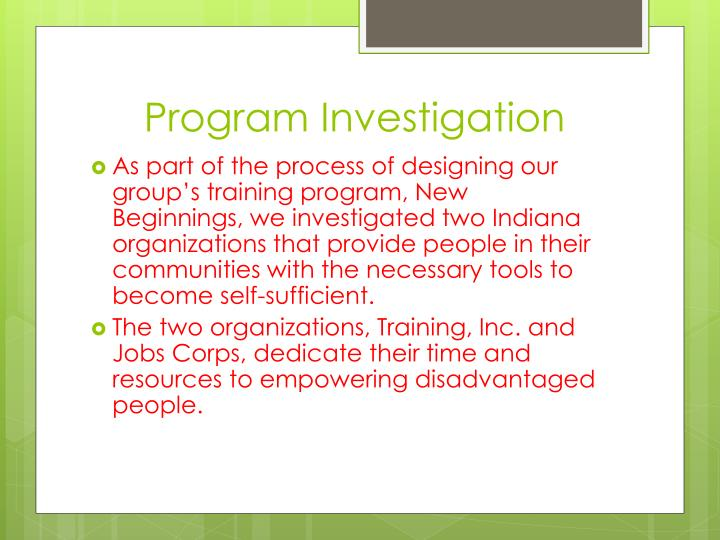 Program Investigation