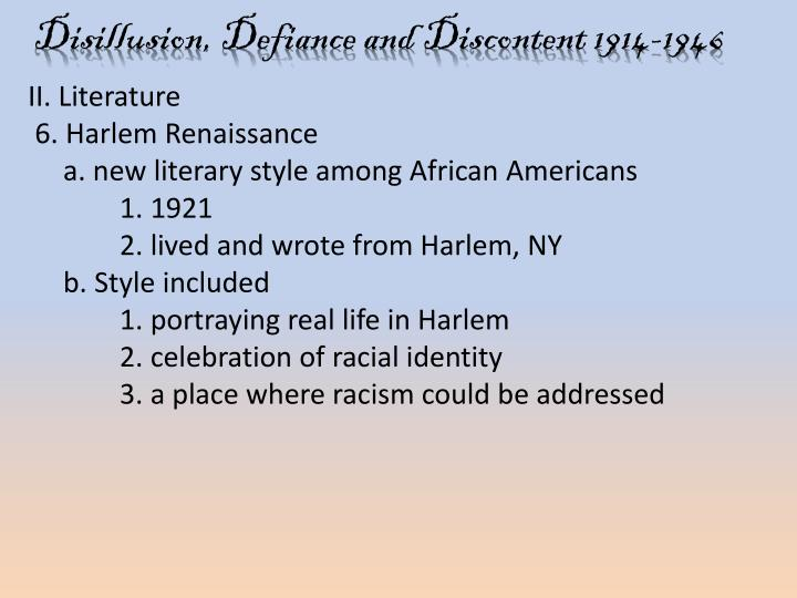 """disillusion defiance and discontent 1914 1946 comparison f Disillusion, defiance, and discontent 1914 – 1946 essay sample disillusionment is the act of disenchanting, especially to disappoint or embitter by leaving without illusion disillusionment, or the death of a dream, is a prominent them in fitzgerald's """"winter dreams,"""" and wolfe's """"the far and the near""""."""