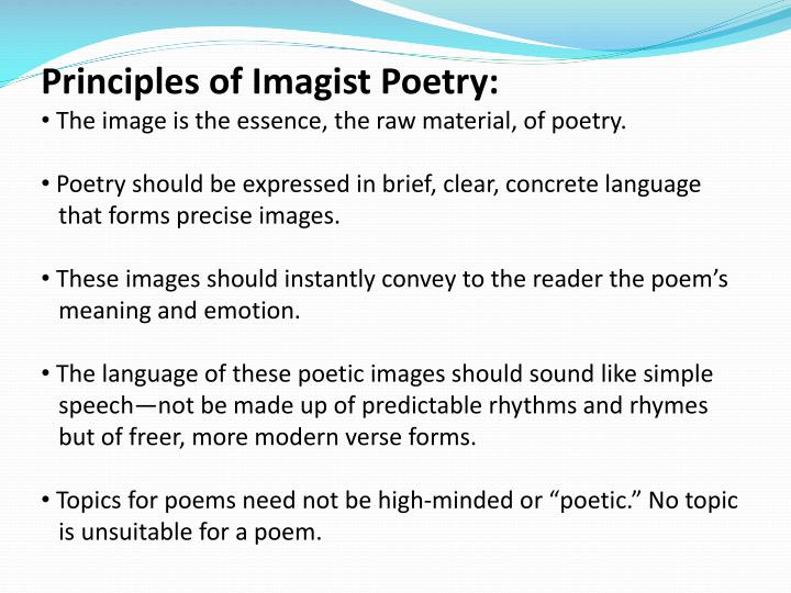Principles of Imagist Poetry: