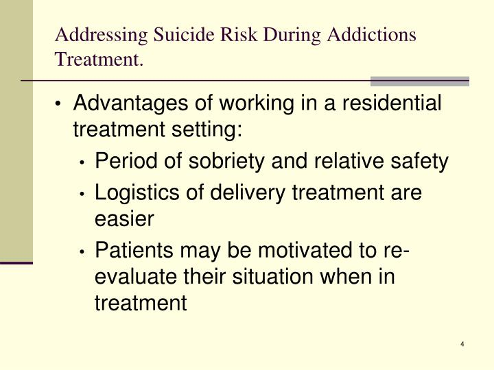 Addressing Suicide Risk During Addictions Treatment.