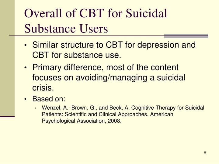 Overall of CBT for Suicidal Substance Users