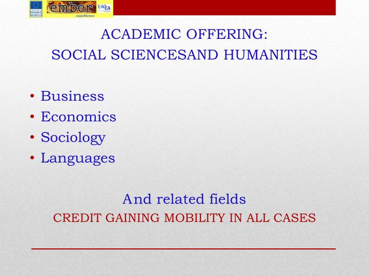 ACADEMIC OFFERING: