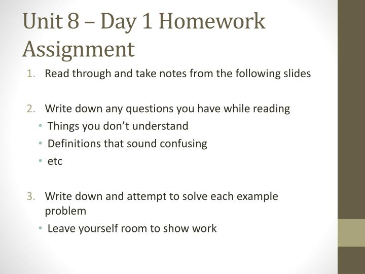 Unit 8 day 1 homework assignment