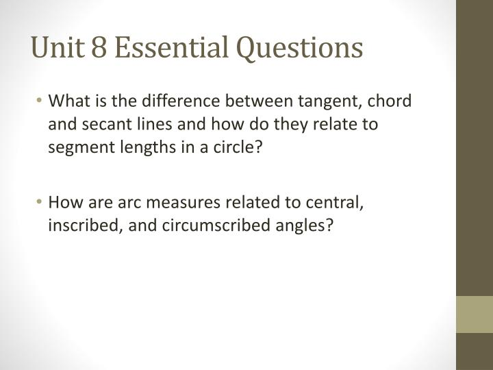 Unit 8 Essential Questions