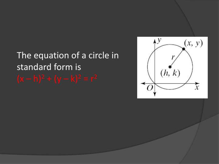 The equation of a circle in standard form is