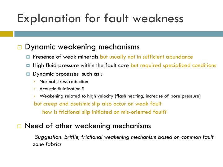Explanation for fault weakness