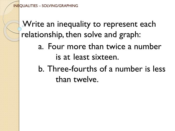 INEQUALITIES – SOLVING/GRAPHING