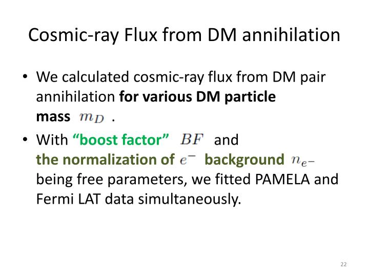 Cosmic-ray Flux from DM annihilation