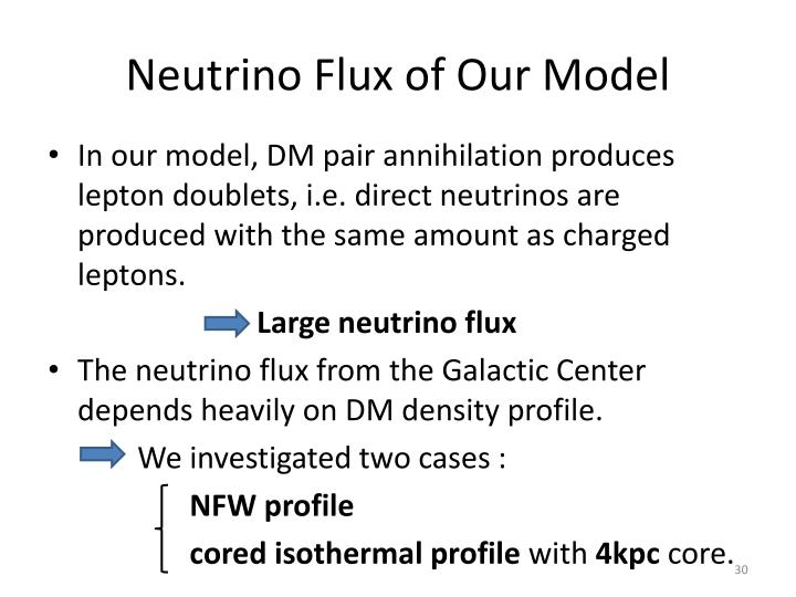 Neutrino Flux of Our Model