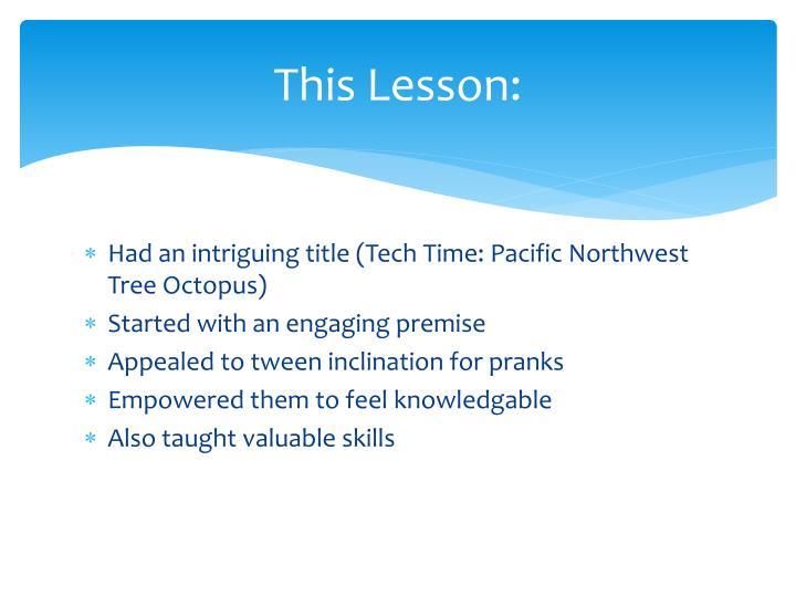 This Lesson: