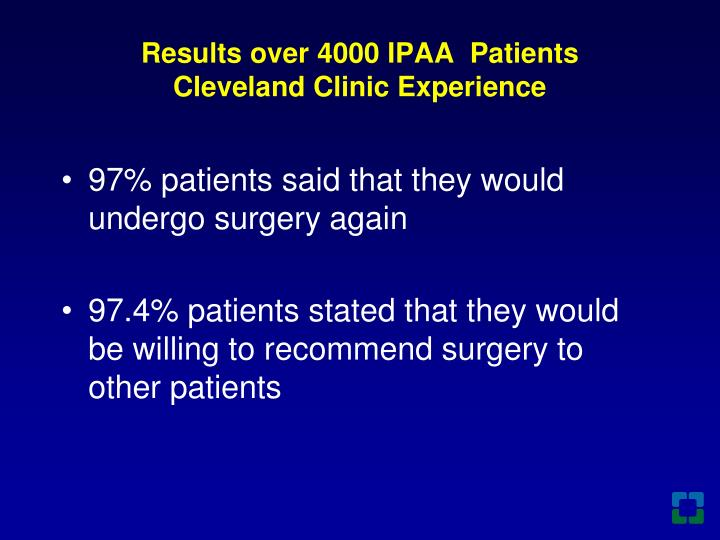 Results over 4000 IPAA  Patients