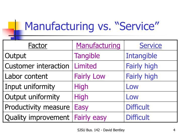 "Manufacturing vs. ""Service"""