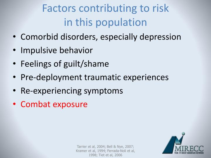 Factors contributing to risk