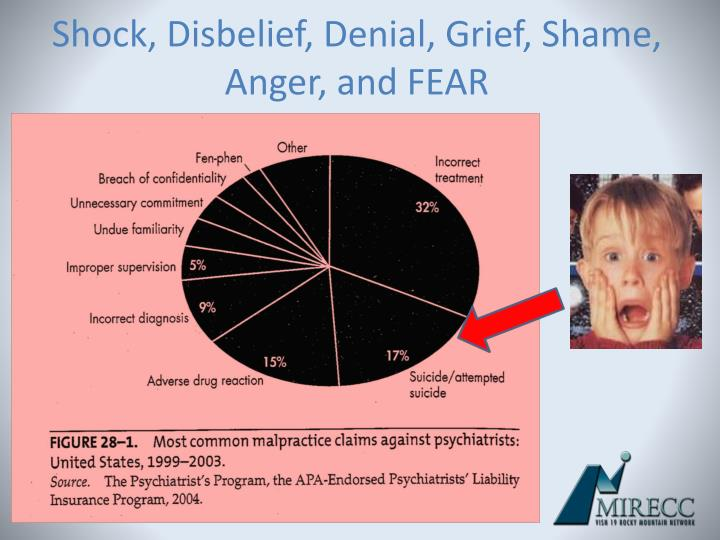 Shock, Disbelief, Denial, Grief, Shame, Anger, and FEAR