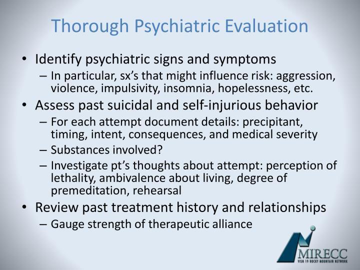 Thorough Psychiatric Evaluation
