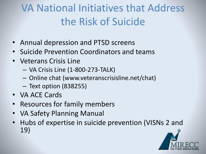 VA National Initiatives that Address the Risk of