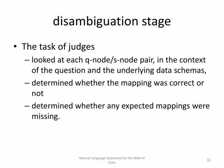 disambiguation stage