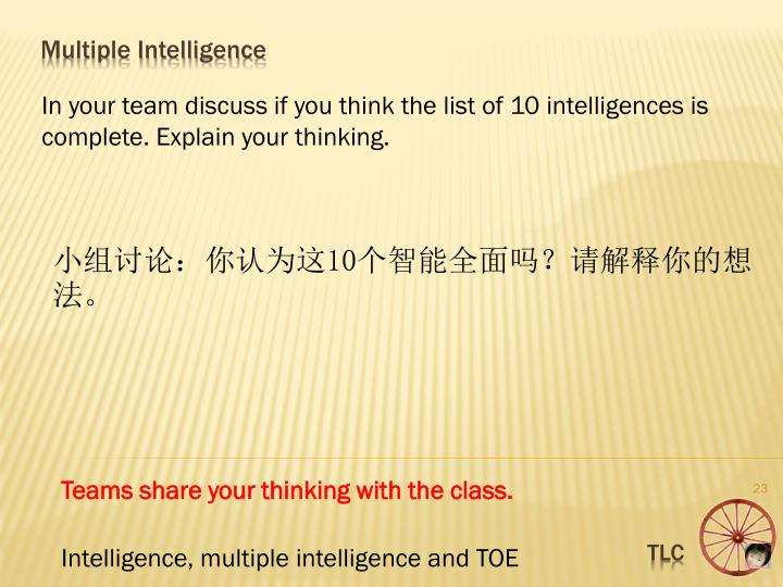 In your team discuss if you think the list of 10 intelligences is complete. Explain your thinking.