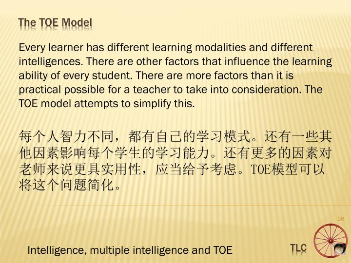 Every learner has different learning modalities and different intelligences. There are other factors that influence the learning ability of every student. There are more factors than it is practical possible for a teacher to take into consideration. The TOE model attempts to simplify this.