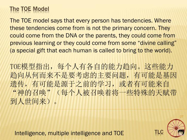 """The TOE model says that every person has tendencies. Where these tendencies come from is not the primary concern. They could come from the DNA or the parents, they could come from previous learning or they could come from some """"divine calling"""" (a special gift that each human is called to bring to the world)."""