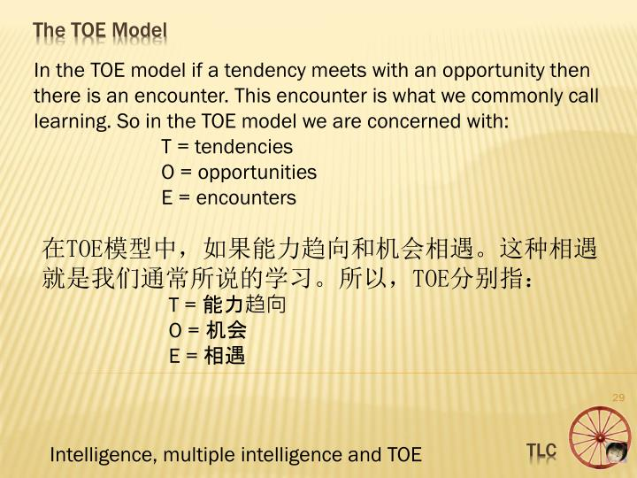 In the TOE model if a tendency meets with an opportunity then there is an encounter. This encounter is what we commonly call learning. So in the TOE model we are concerned with: