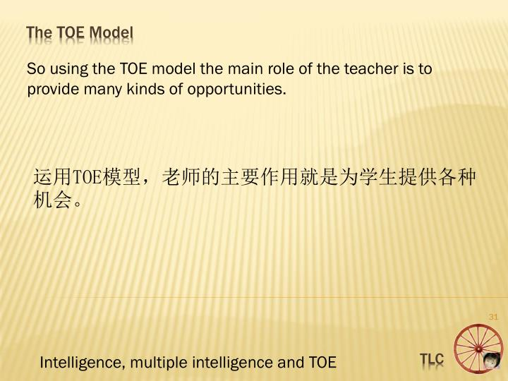 So using the TOE model the main role of the teacher is to  provide many kinds of opportunities.