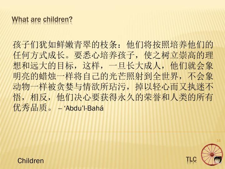孩子们犹如鲜嫩青翠的枝条:他们将按照培养他们的任何方式成长。要悉心培养孩子,使之树立崇高的理想和远大的目标,这样,一旦长大成人,他们就会象明亮的蜡烛一样将自己的光芒照射到全世界,不会象动物一样被贪婪与情欲所玷污,掉以轻心而又执迷不悟,相反,他们决心要获得永久的荣誉和人类的所有优秀品质