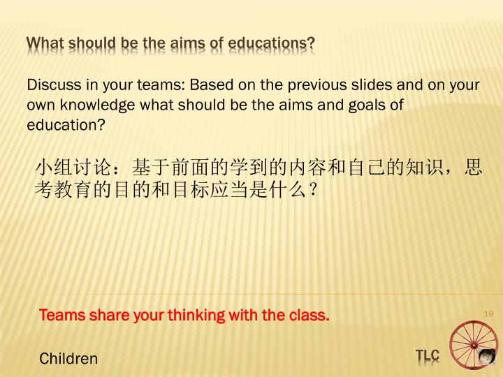 Discuss in your teams: Based on the previous slides and on your own knowledge what should be the aims and goals of education?