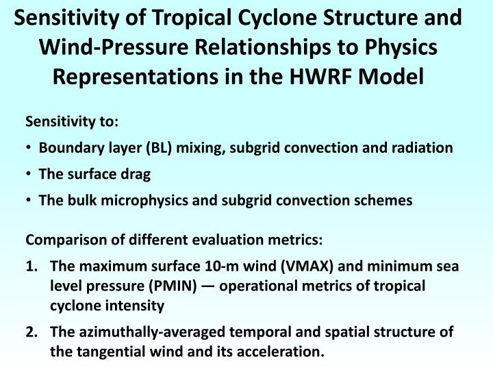 Sensitivity of Tropical Cyclone Structure and