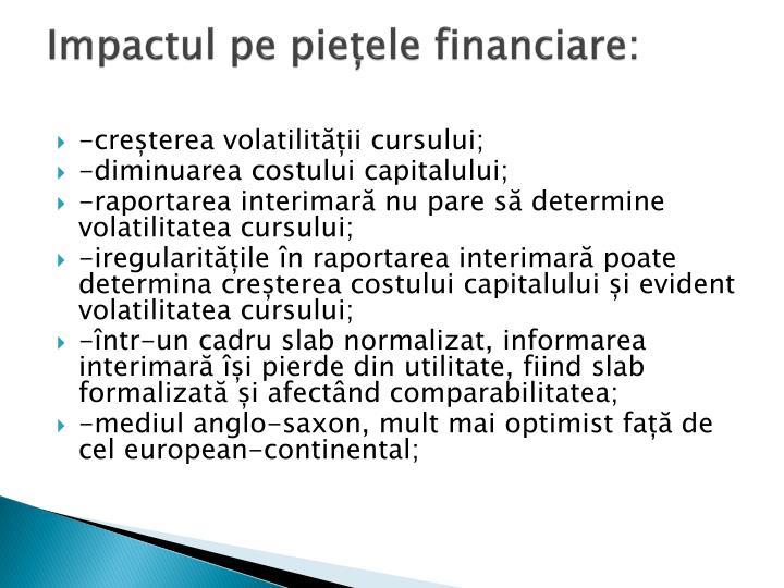 Impactul pe piețele financiare: