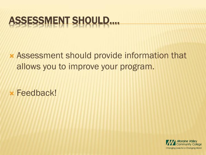 Assessment should provide information that allows you to improve your program.
