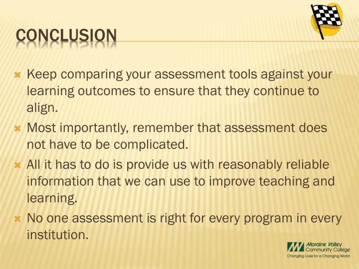 Keep comparing your assessment tools against your learning outcomes to ensure that they continue to align.