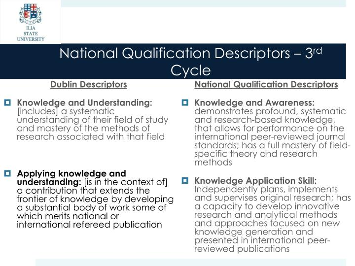 National Qualification Descriptors – 3
