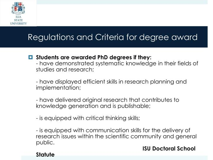 Regulations and Criteria for degree award