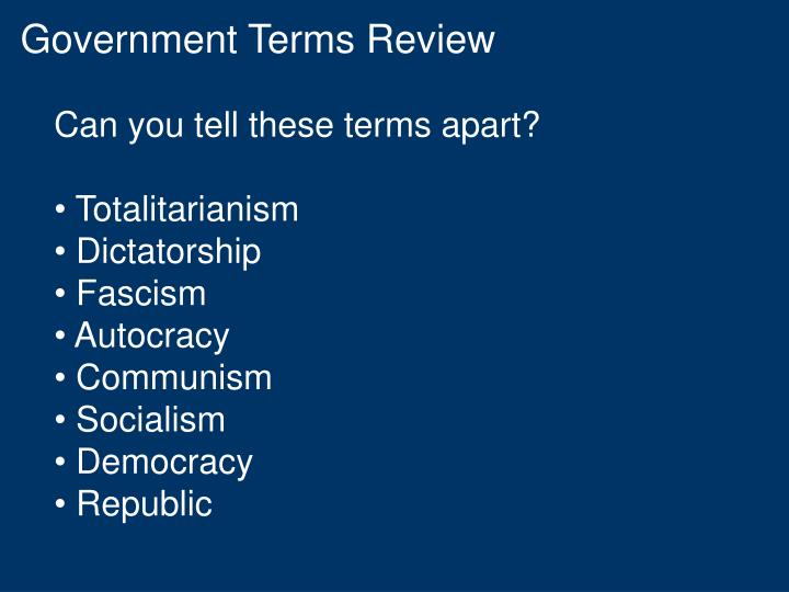 Government Terms Review