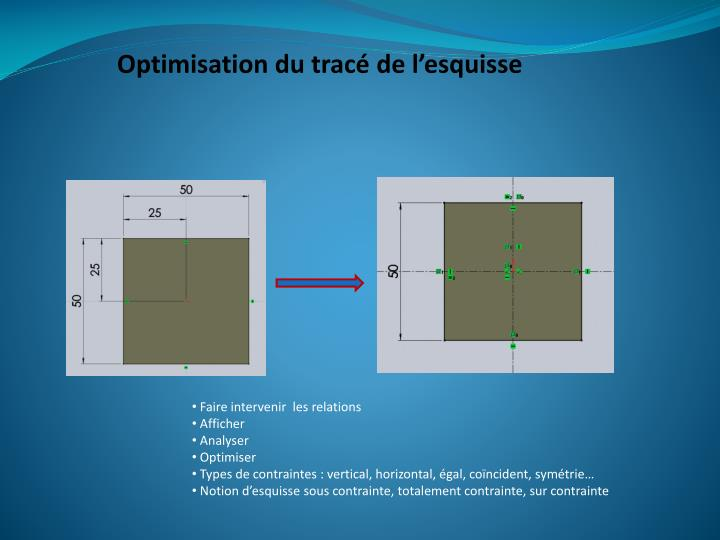 Optimisation du tracé de l'esquisse