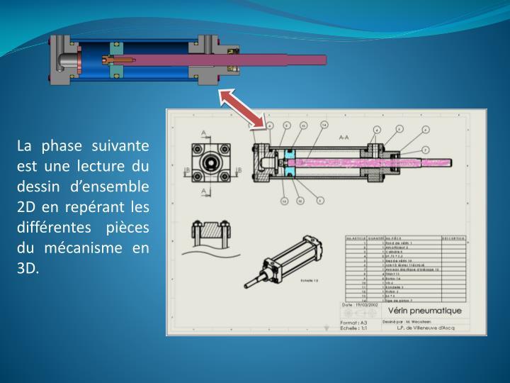 La phase suivante est une lecture du dessin d'ensemble 2D en repérant les différentes pièces du mécanisme en 3D.