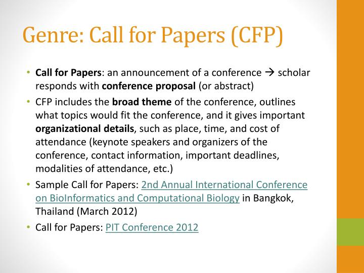 Genre call for papers cfp