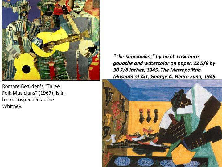 """The Shoemaker,"" by Jacob Lawrence, gouache and watercolor on paper, 22 5/8 by 30 7/8 inches, 1945, ..."