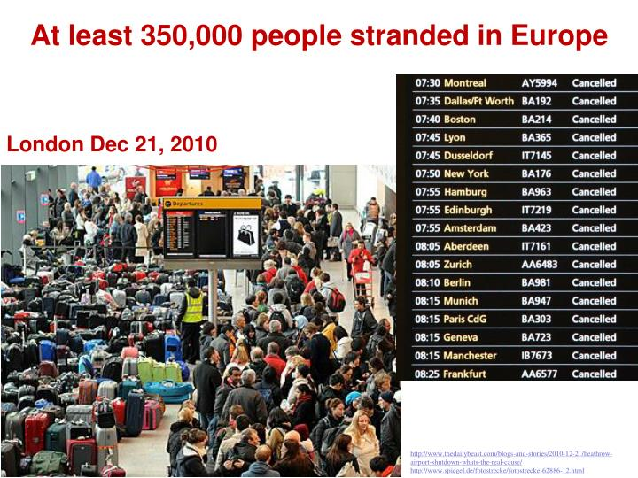 At least 350 000 people stranded in europe